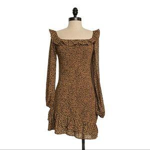 Le Lis Off Shoulder Leopard Asymmetrical Dress